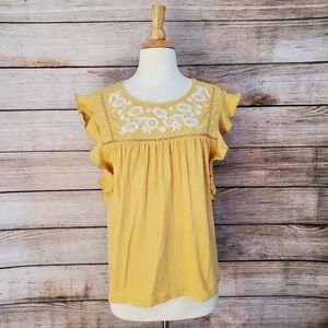 Caslon Yellow White Embroidered Flutter Sleeve Tee